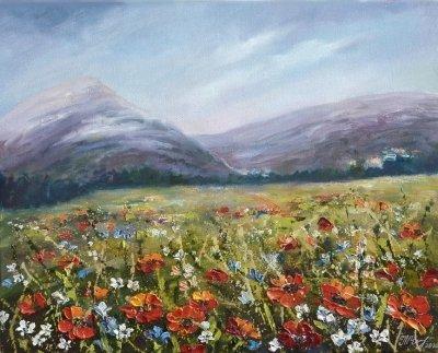 Картина маслом цветы «Маки в горах» купить живопись пейзаж Украина
