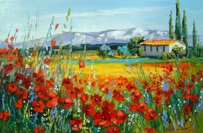 Картина маслом цветы «Маковое поле у гор» купить живопись для современных интерьеров Украина