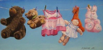 Картина детям «Мама постирала» купить живопись для современных интерьеров Украина