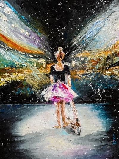 Картина маслом «Мечты о сцене» купить живопись для современных интерьеров Украина