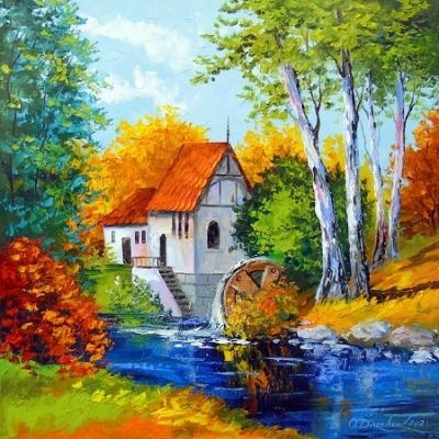 Картина пейзаж «Мельница» купить живопись для современных интерьеров Украина