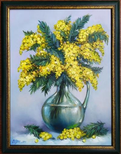 Картина цветы «Мимоза» купить живопись для современных интерьеров Киев