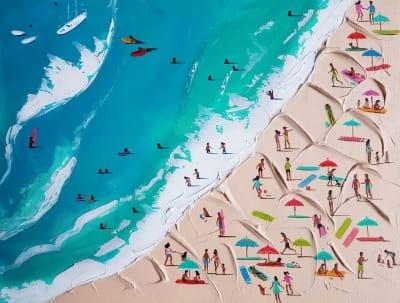 Картина маслом морской пейзаж «Пляжный день» купить живопись для современных интерьеров Киев