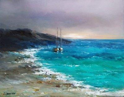 Картина маслом морской пейзаж «Море. Закат. Яхты» купить живопись Киев Украина