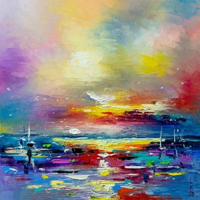 Картина живопись маслом абстракция «Морской закат» купить живопись для современных интерьеров Украина
