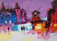 Картина маслом городской пейзаж «Мулен Руж» купить живопись для современных интерьеров Украина