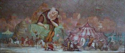 Картина маслом сказочный пейзаж детям «Музыка жизни» купить живопись для современных интерьеров Украина