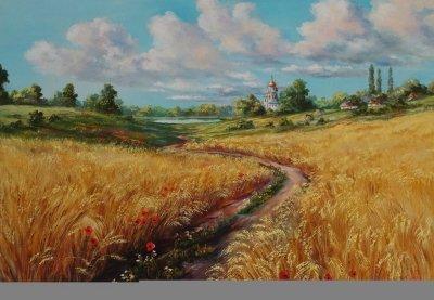 Картина маслом сельский пейзаж «На окраине» купить современную живопись Украина