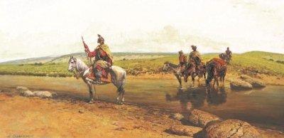 Картина маслом исторический пейзаж «На переправе» купить живопись для современных интерьеров Киев