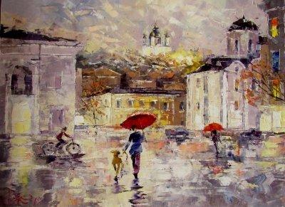 Картина маслом городской пейзаж «На Подоле. Дождик» купить живопись для современных интерьеров Украина