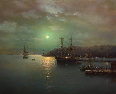 Картина маслом морской пейзаж «На рейде» купить современную живопись Украина