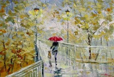 Картина маслом осенний пейзаж «Вечереет» купить живопись для современных интерьеров Украина