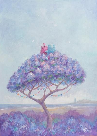 Картина детям «Пухнастики. Наше цветочное дерево» купить картину маслом Киев