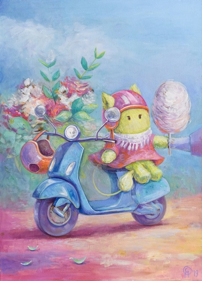 Картина детям «Пухнастики. Наше цветочное путешествие» купить картину маслом Киев