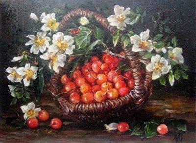 Картина «Натюрморт с черешней» купить живопись для современных интерьеров Киев