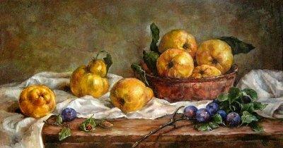 Картина натюрморт «Натюрморт с грушами и сливами» купить живопись для современных интерьеров Киев