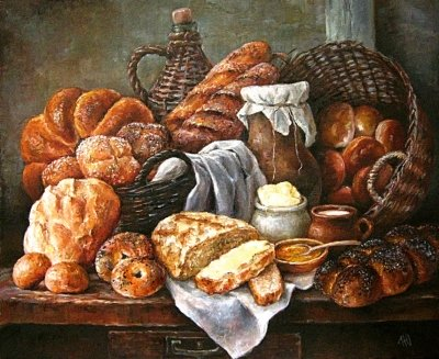 Картина «Натюрморт с хлебом» купить живопись для современных интерьеров Киев