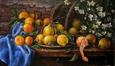 Картина натюрморт «Натюрморт с мандаринами» купить живопись для современных интерьеров Киев