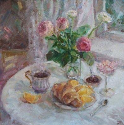 Картина маслом натюрморт «Натюрморт с розами» купить современную живопись Киев