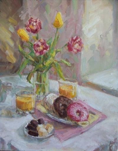 Картина маслом натюрморт «Натюрморт с тюльпанами» купить живопись Киев