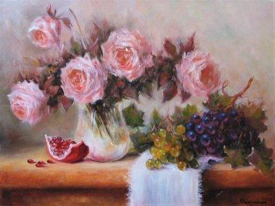 Картина натюрморт с цветами «Натюрморт с виноградом» купить живопись для современных интерьеров Украина