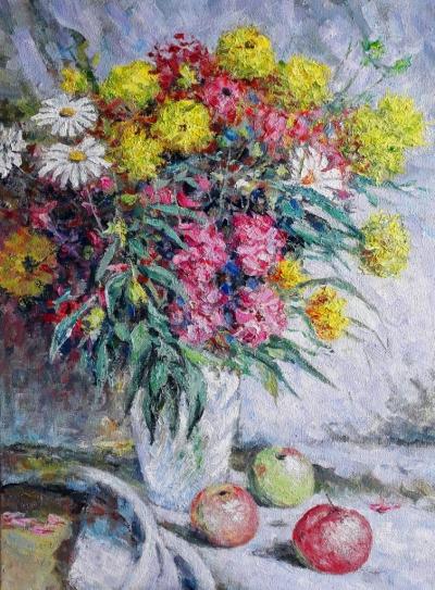 Картина маслом с цветами «Натюрморт» купить современную живопись Украина