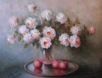 Картина с цветами «Натюрморт с персиками» купить живопись для современных интерьеров Украина