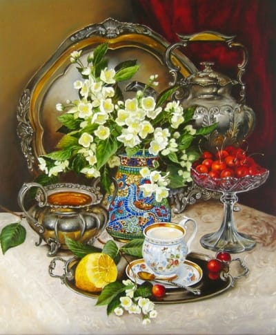 Картина натюрморт «Натюрморт с серебрянной посудой» купить живопись для современных интерьеров Украина