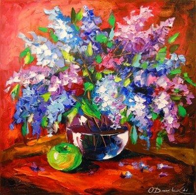 Картина с цветами «Натюрморт с сиренью» купить живопись для современных интерьеров Украина