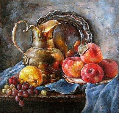 Картина «Натюрморт с яблоками» купить живопись для современных интерьеров Киев