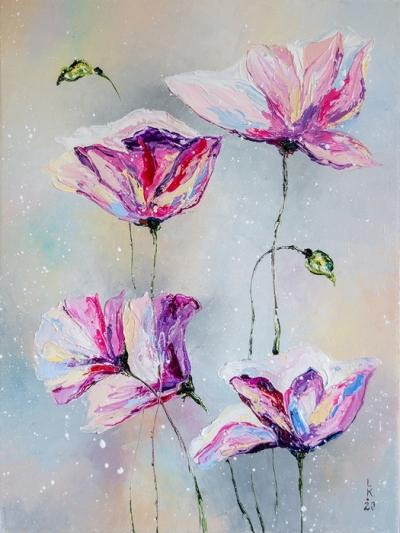 Картина маслом с цветами «Нежные цветы» купить живопись для современных интерьеров Украина