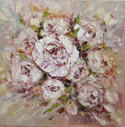 Картина маслом цветы «Нежность» купить современную живопись Украина