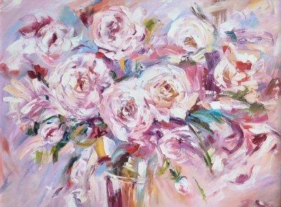 Картина маслом цветы «Нежность» купить современную живопись Киев