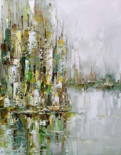 Картина маслом абстракция «Нью Йорк» купить живопись Украина