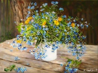 Картина цветы «Незабудки» - купить живопись для современных интерьеров Украина