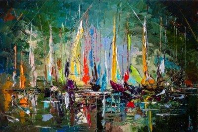 Картина маслом абстракция «Ночная гавань» купить живопись для современных интерьеров Киев