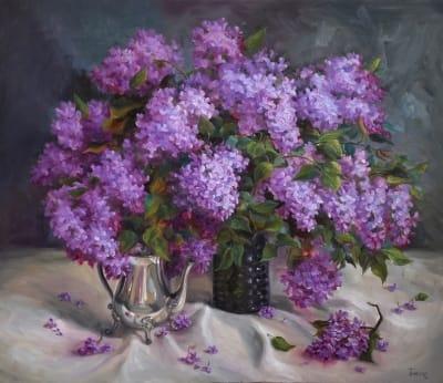 Картина цветы сирень «Объемный аромат» купить живопись для современных интерьеров Украина