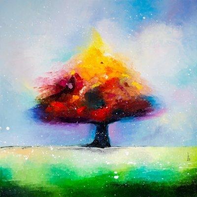Картина маслом абстракция «Одинокое дерево» купить живопись для современных интерьеров Киев