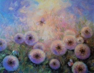 Картина с цветами «Одуванчики» купить живопись для современных интерьеров Украина