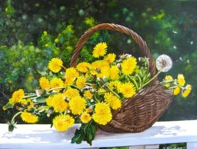 Картина «Одуванчики в корзинке» - купить живопись для современных интерьеров Украина