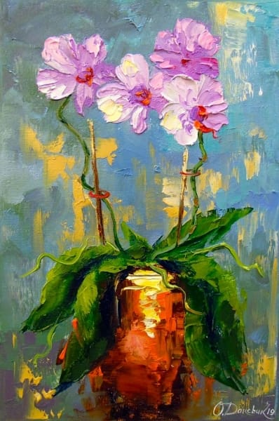 Картина маслом цветы «Орхидея» купить живопись для современных интерьеров Украина