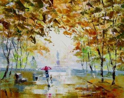 Картина маслом осенний пейзаж «Осень в парке» купить живопись для современных интерьеров Украина