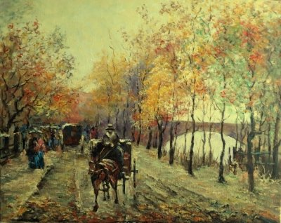 Картина маслом пейзаж «Осенняя дорога» купить современную живопись Украина