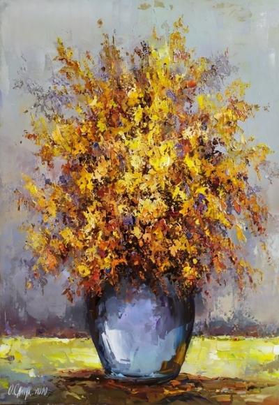 Картина цветы «Осенний букет» купить живопись для современных интерьеров Киев