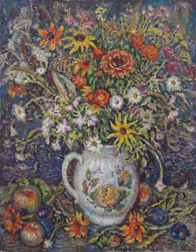 Картина «Осенний букет в белом кувшине» купить живопись цветы для современных интерьеров Украина
