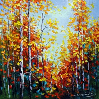 Картина маслом осенний пейзаж «Осенние березы» купить живопись для современных интерьеров Украина