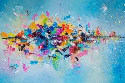 Картина маслом абстракция «Регата» купить живопись для современных интерьеров Киев