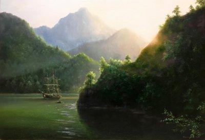Картина маслом морской пейзаж «Острова» купить современную живопись Украина