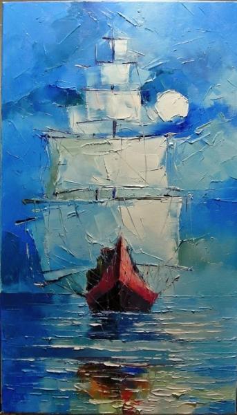 Картина морской пейзаж «Парусник» купить живопись для современных интерьеров Украина