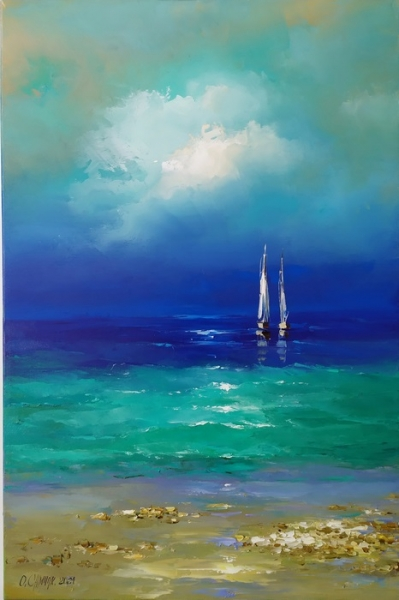 Картина маслом морской пейзаж «Парусники» купить живопись Украина